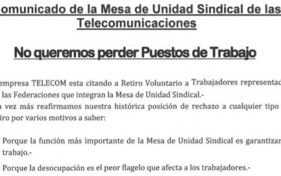 Comunicado de la Mesa de Unidad Sindical de las Telecomunicaciones
