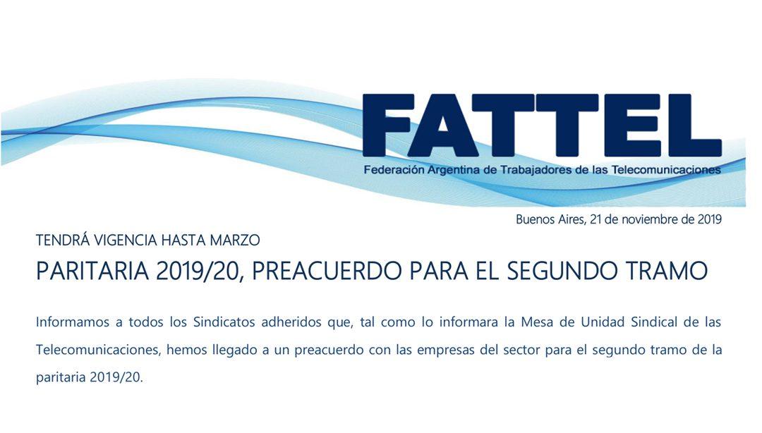 PARITARIA 2019/20, PREACUERDO PARA EL SEGUNDO TRAMO